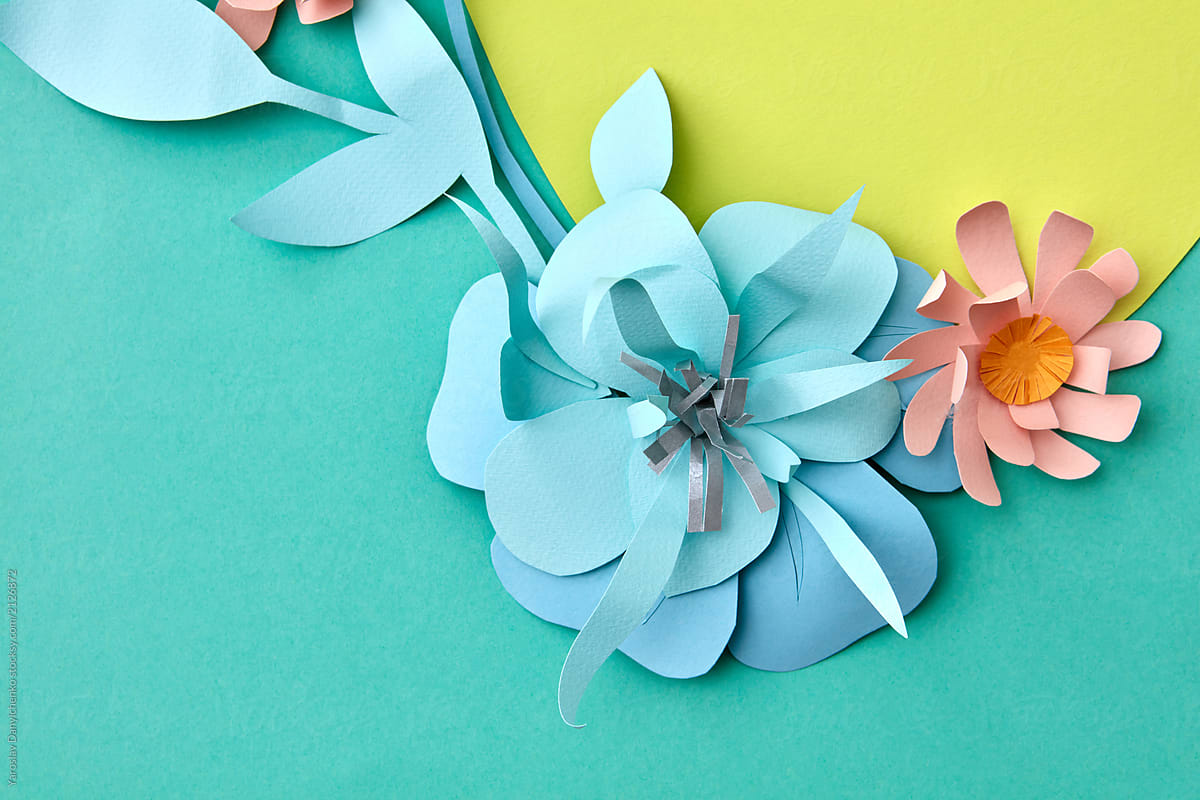 Paper Origami With Blue Paper Flower And Handmade Leaves Of A Mu