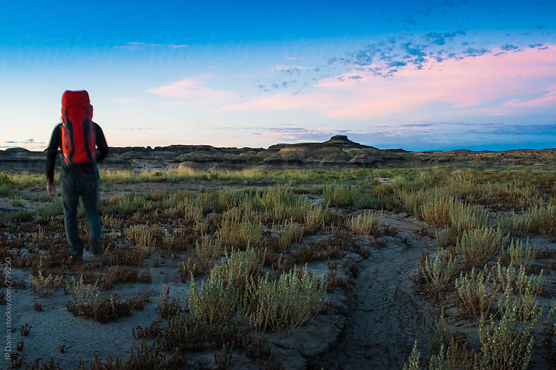 Man Hiking With Backpack In Bisti Badlands Bisti/De-Na-Zin Wilderness New Mexico USA by JP Danko for Stocksy United