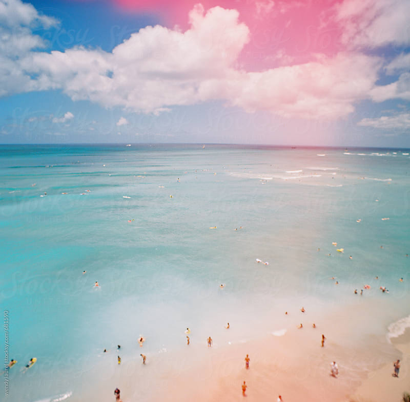 waikiki beach landscape with light leak by wendy laurel for Stocksy United