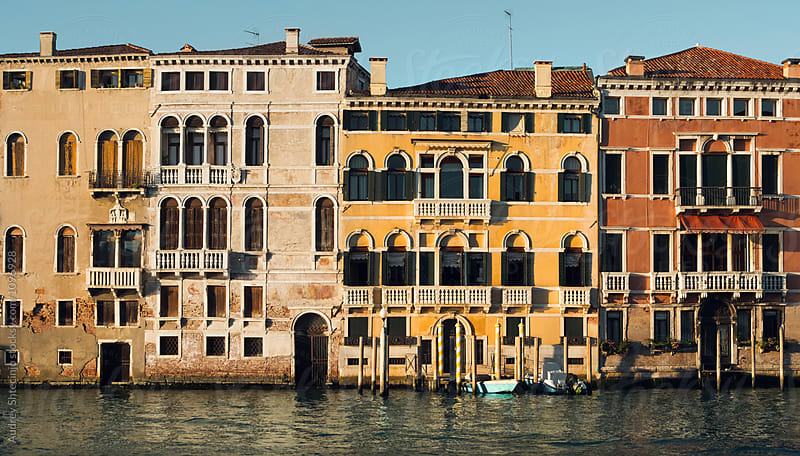 Classic old Venetian style houses/buildings/neighborhood  at Grand Canal/Venice.Italy by Audrey Shtecinjo for Stocksy United