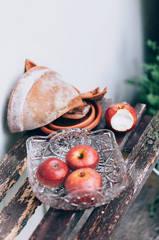 Apples on wooden bench in garden by Laura Stolfi for Stocksy United