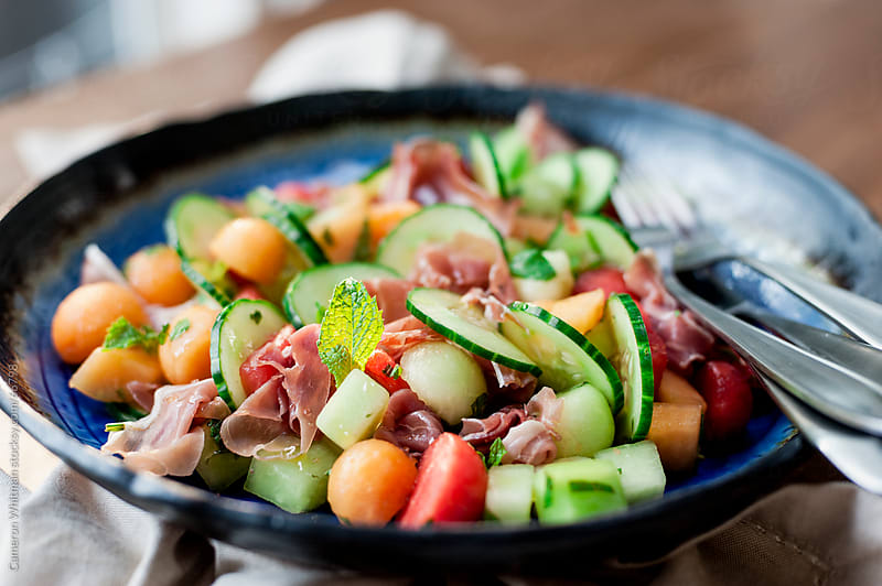 Prosciutto and Melon Ball Salad by Cameron Whitman for Stocksy United