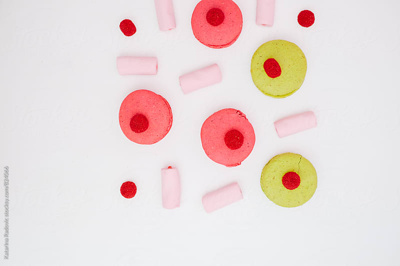 Pastel Macarons and Pink Marshmallows  by Katarina Radovic for Stocksy United