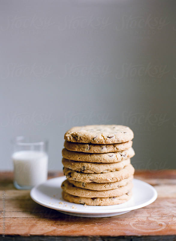 Stack of chocolate chip cookies by Ali Harper for Stocksy United