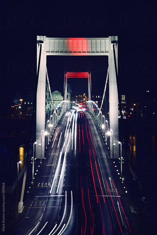Elizabeth Bridge by night by Mark Korecz for Stocksy United