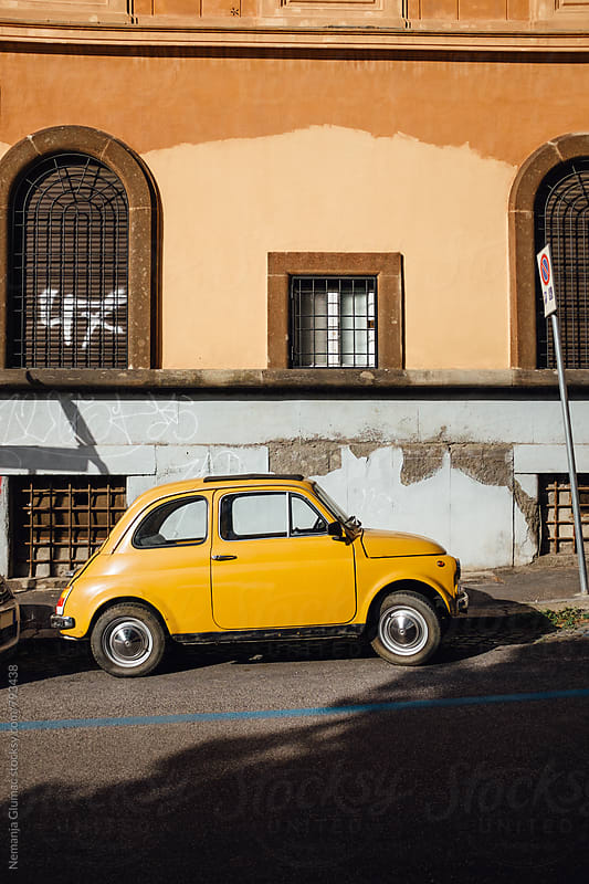 Yellow Fiat 500 Parked in Rome by Nemanja Glumac for Stocksy United