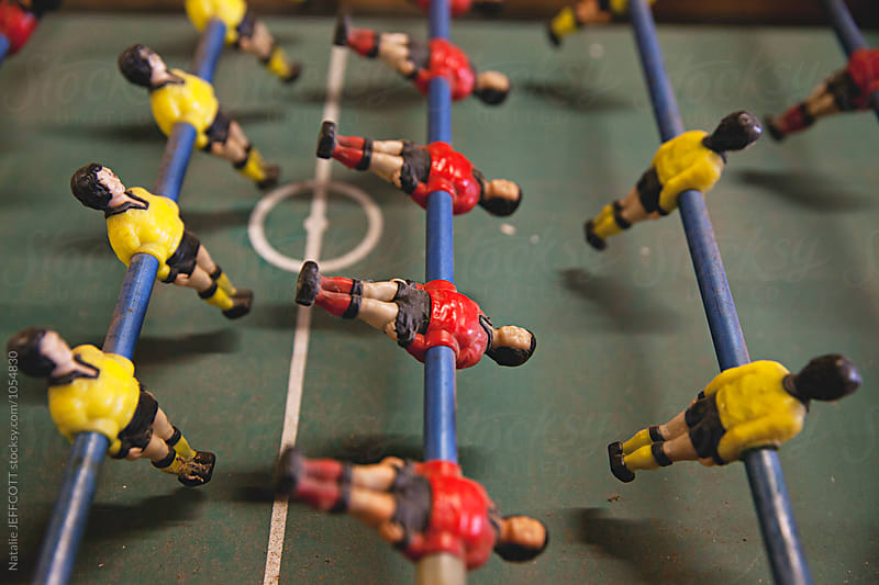 Vintage retro tabletop fusbol / football / soccer game by Natalie JEFFCOTT for Stocksy United