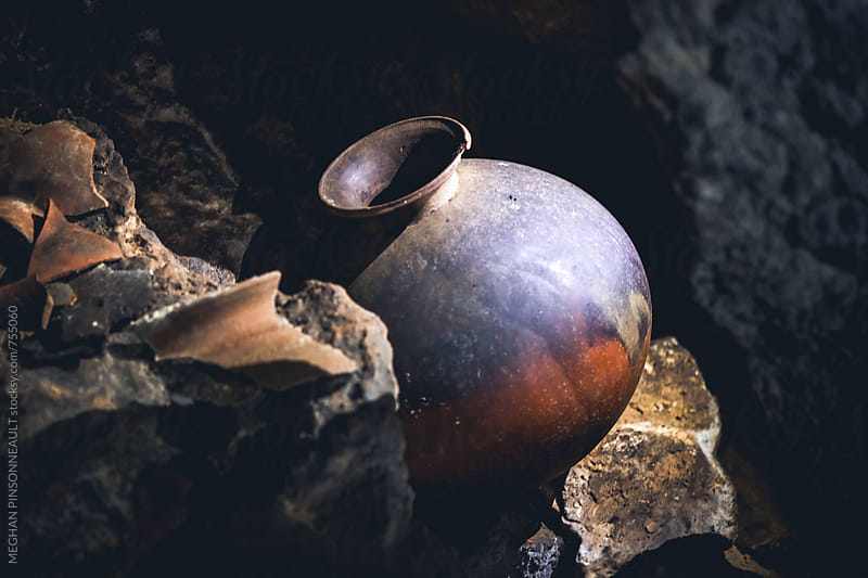 Ancient Mayan Pot in Sacrificial Cave by MEGHAN PINSONNEAULT for Stocksy United