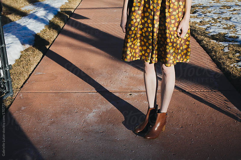 Girl in Vintage Dress and Boots - Legs by Gabrielle Lutze for Stocksy United