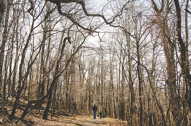 Father and son walking in the woods by Lindsay Crandall for Stocksy United