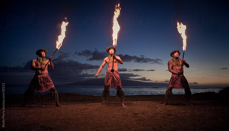 Traditional Hawaiian Fire Dancers by Shelly Perry for Stocksy United