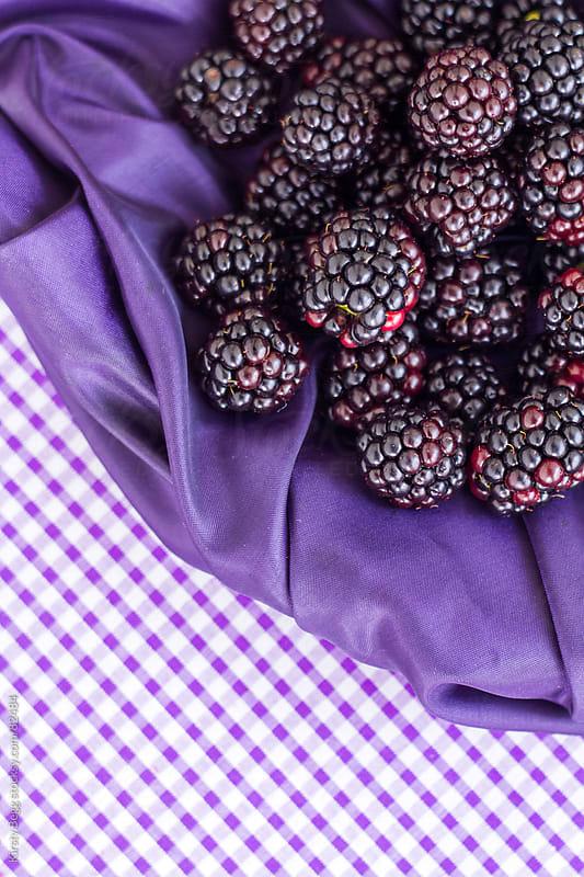 Blackberries on Purple Gingham by Kirsty Begg for Stocksy United
