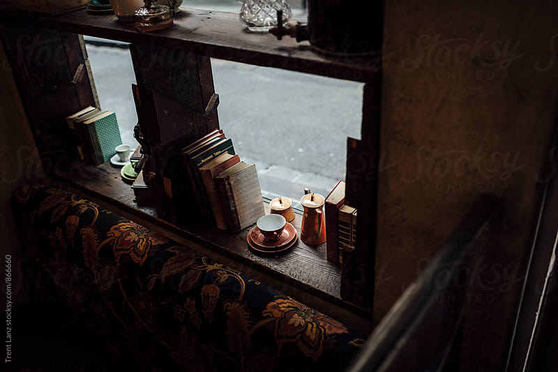 Cozy interior of coffee book shop in Australia by Trent Lanz for Stocksy United