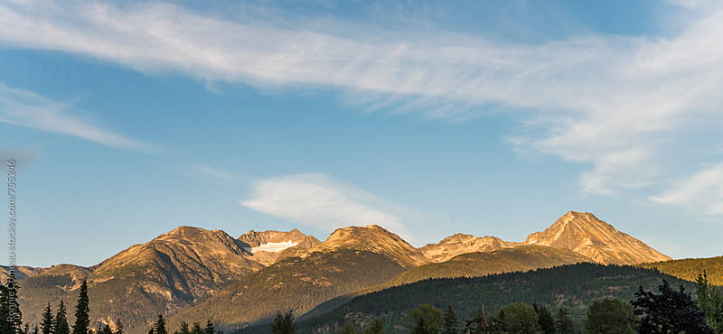 Panoramic View Of Mountains And Glacier by Ronnie Comeau for Stocksy United