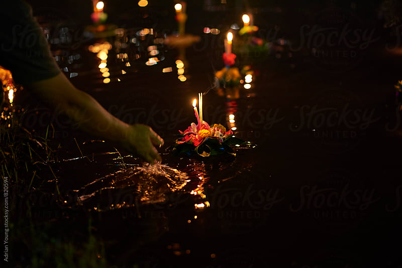 Releasing A Krathong Float by Adrian Young for Stocksy United