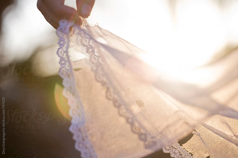 Hand Holding Tattered White Sheer Dress Out by Dina Giangregorio for Stocksy United