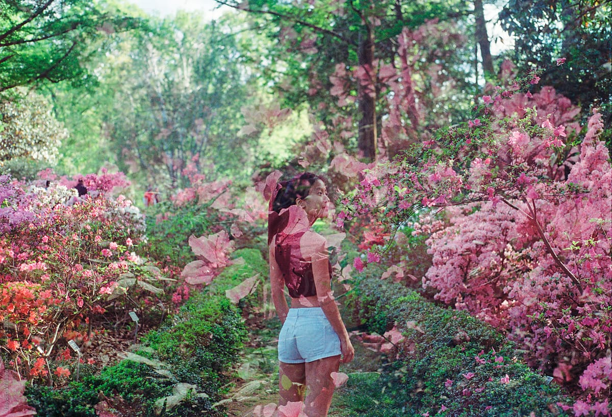 Girl Standing In Colorful Garden Surrounded By Pink Flowers On A