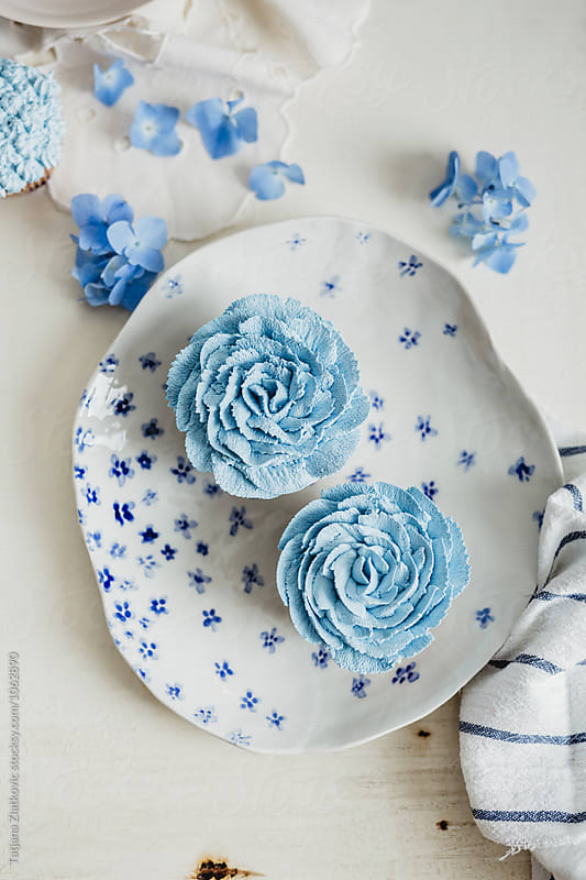 Blue cupcakes by Tatjana Ristanic for Stocksy United