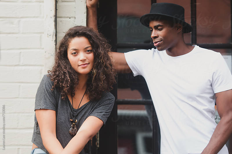 Young cool couple in the city by Lauren Naefe for Stocksy United