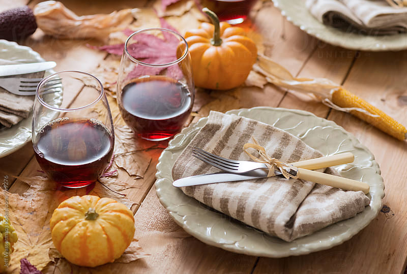 Rustic Thanksgiving Table Setting by Jeff Wasserman for Stocksy United