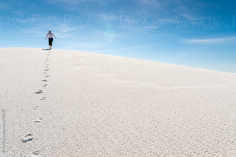 Barefoot Woman On Top of Sand Dune In White Sands National Monument New Mexico by JP Danko for Stocksy United