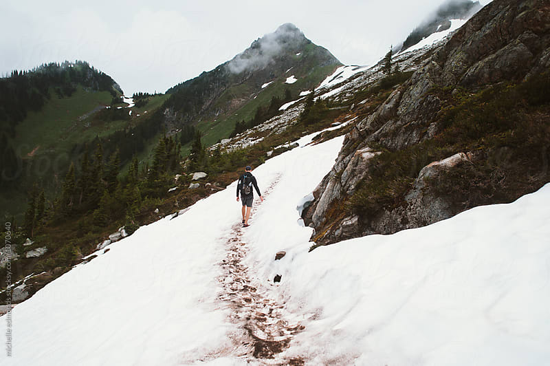 Man Hiking in the North Cascades of Washington by michelle edmonds for Stocksy United