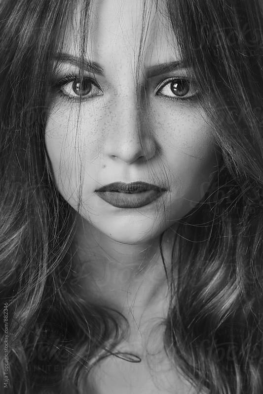 Portrait of a beautiful woman in black and white by Maja Topcagic for Stocksy United