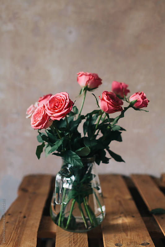 Bouquet of roses on a table  by Marija Mandic for Stocksy United