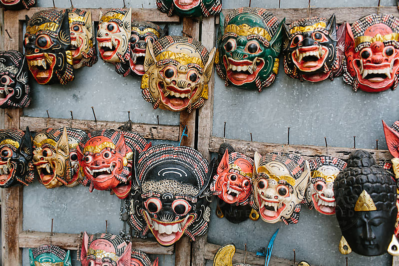 Balinese masks by Cameron Zegers for Stocksy United
