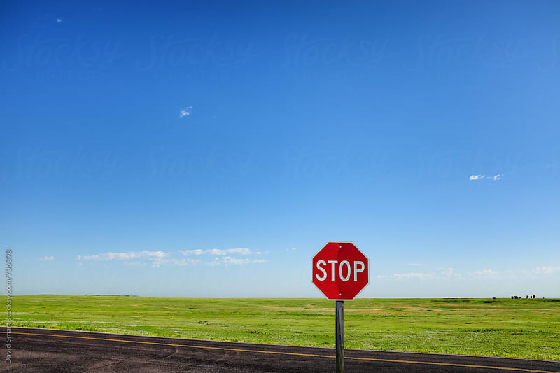 Stop sign with blue sky, green shortgrass prairie and a dark road. by David Smart for Stocksy United