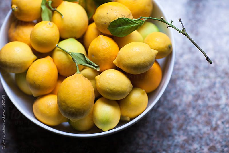 Bowl full of organic meyer lemons on the counter by Carolyn Lagattuta for Stocksy United