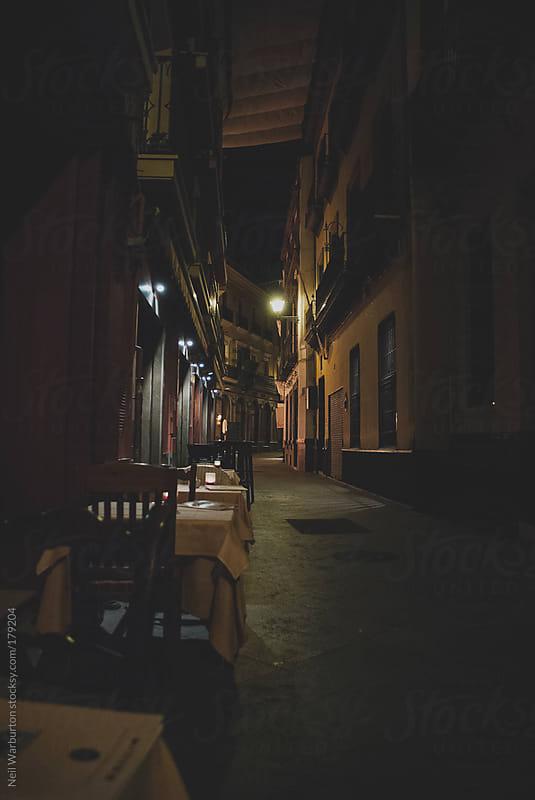 Restaurant at Night by Neil Warburton for Stocksy United