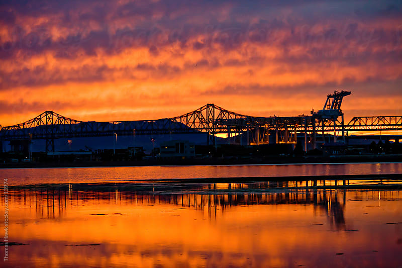 Sunset on the Bay Bridge by Thomas Hawk for Stocksy United