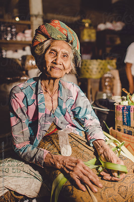 Old Woman Worker in Market in Bali by Gary Radler Photography for Stocksy United