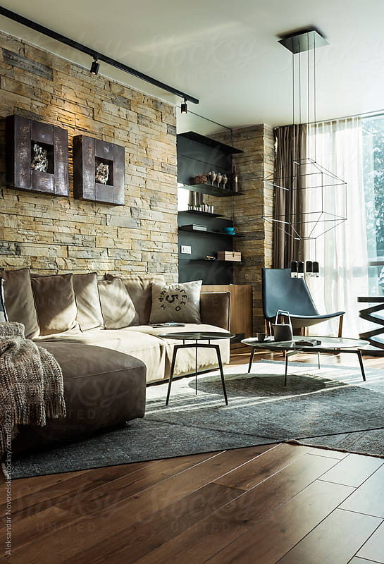 Modern living room in contemporary interior by Aleksandar Novoselski for Stocksy United