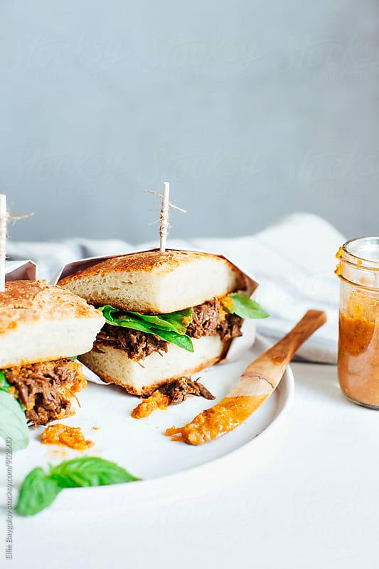 Braised beef short rib sandwich by Ellie Baygulov for Stocksy United