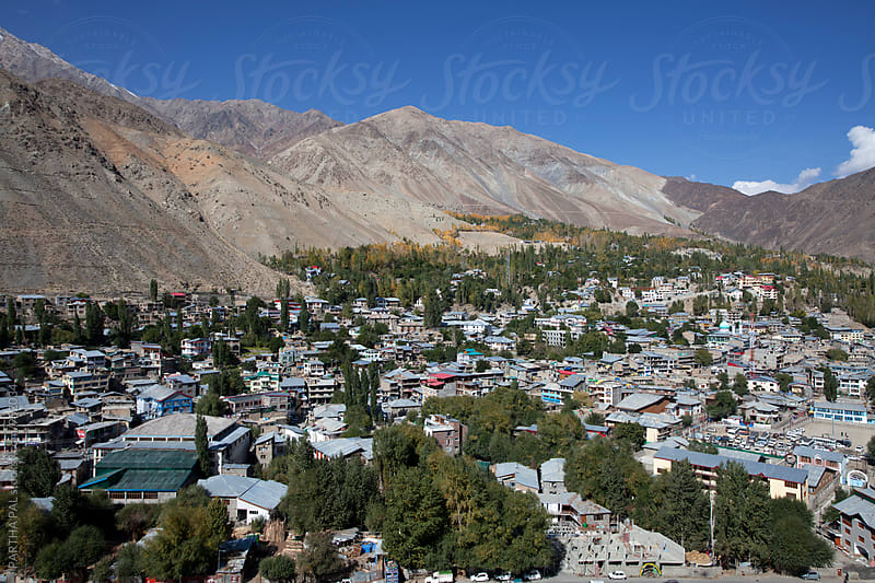 Top view of a hill town in ladakh,India by PARTHA PAL for Stocksy United