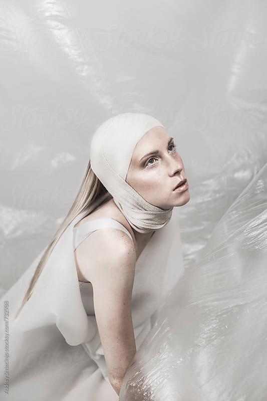 Minimalist fashion portrait of beautiful caucasian woman by Audrey Shtecinjo for Stocksy United