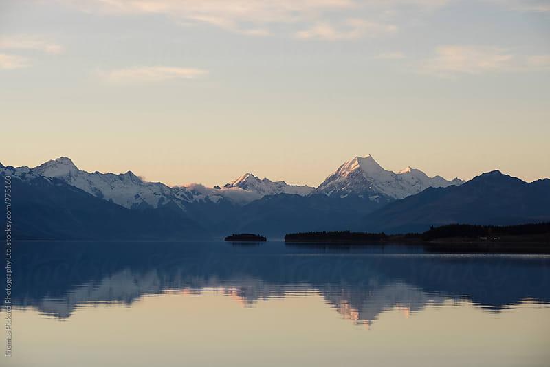 Aoraki / Mt Cook at dusk as seen across Lake Pukaki, New Zealand. by Thomas Pickard Photography Ltd. for Stocksy United