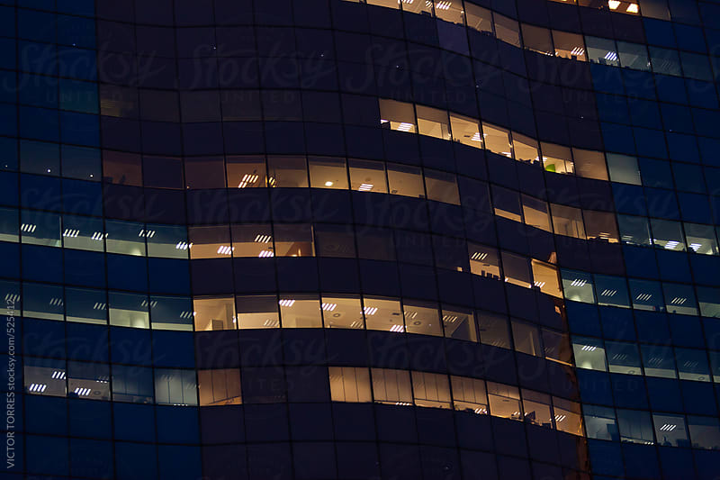 Office Building Background at Night by VICTOR TORRES for Stocksy United