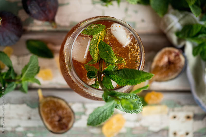 Fig and Bourbon Cocktail by Jeff Wasserman for Stocksy United