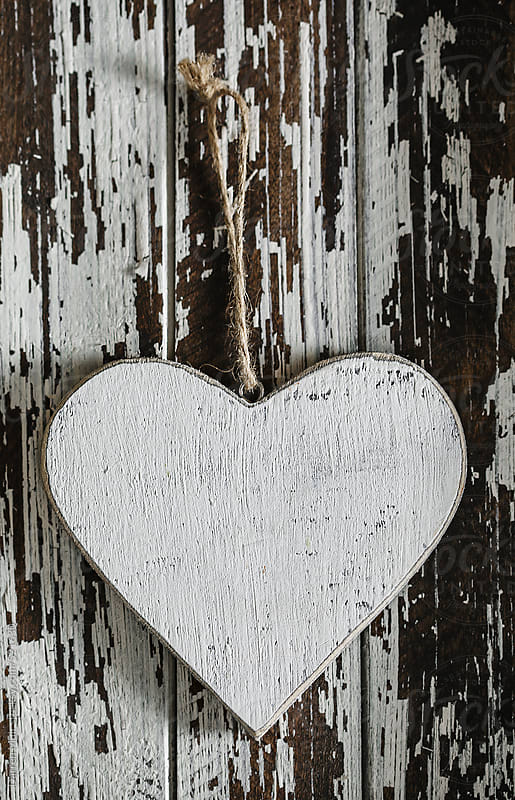 Wooden love heart on wooden background. by Darren Muir for Stocksy United