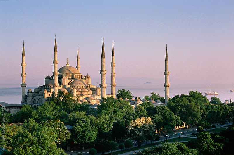 View of the Sultan Ahmed Mosque. Istanbul. Turkey. by Hugh Sitton for Stocksy United