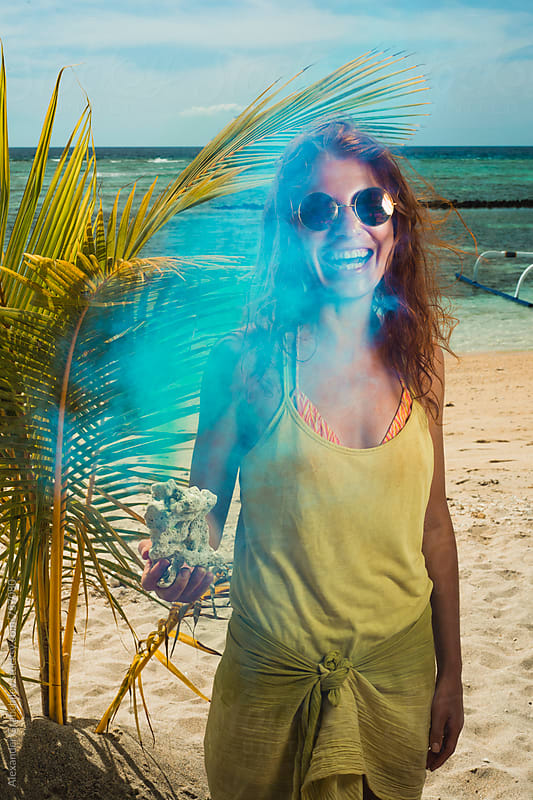 Smiling Woman At Tropical Sandy Beach by Alexander Grabchilev for Stocksy United