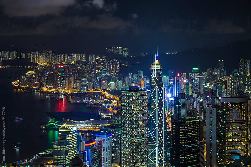 Hong Kong, SAR China - Nighttime View from Victoria Peak towards Wan Chai and Causeway Bay by Tom Uhlenberg for Stocksy United