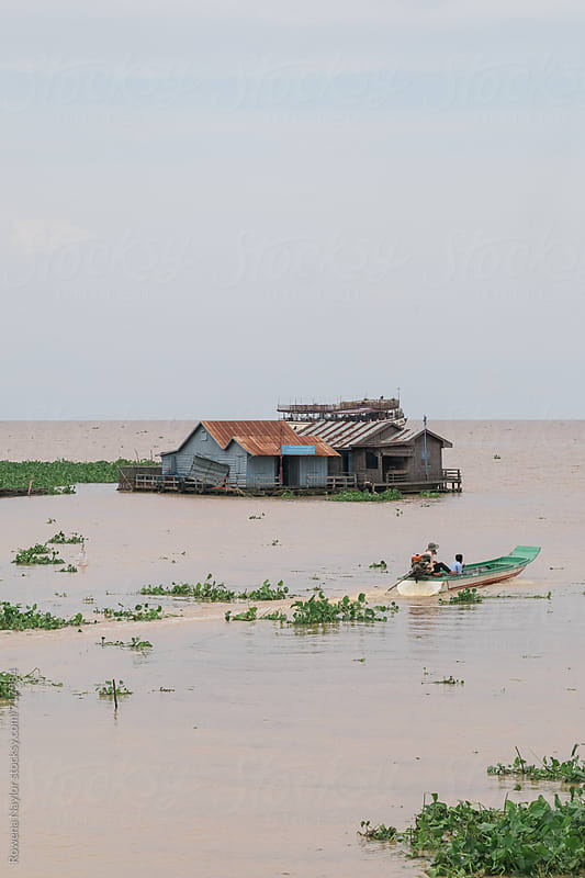 Flaoting Village Homes on Tonle Sap Lake, Cambodia by Rowena Naylor for Stocksy United