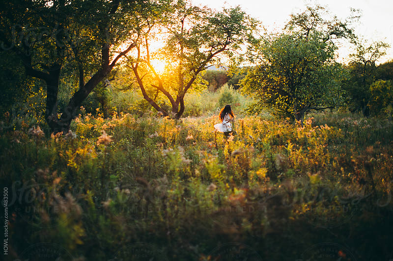 Young girl twirls dress in meadow by HOWL for Stocksy United