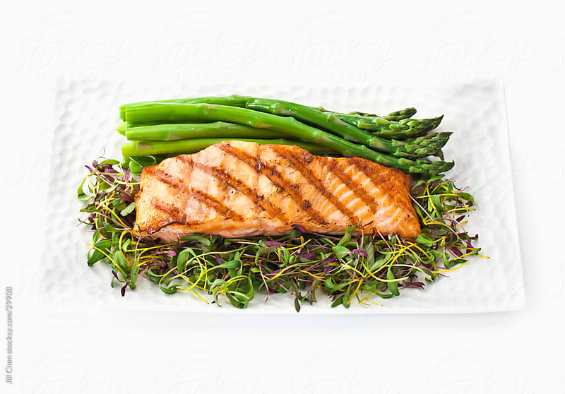 Grilled Salmon Dinner by Jill Chen for Stocksy United