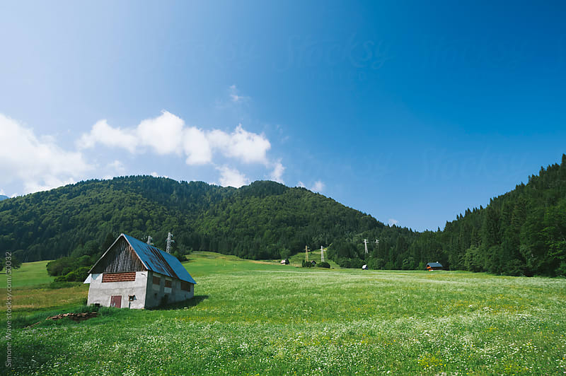 Hut in a green field during summer - Italian Alps by GIC for Stocksy United