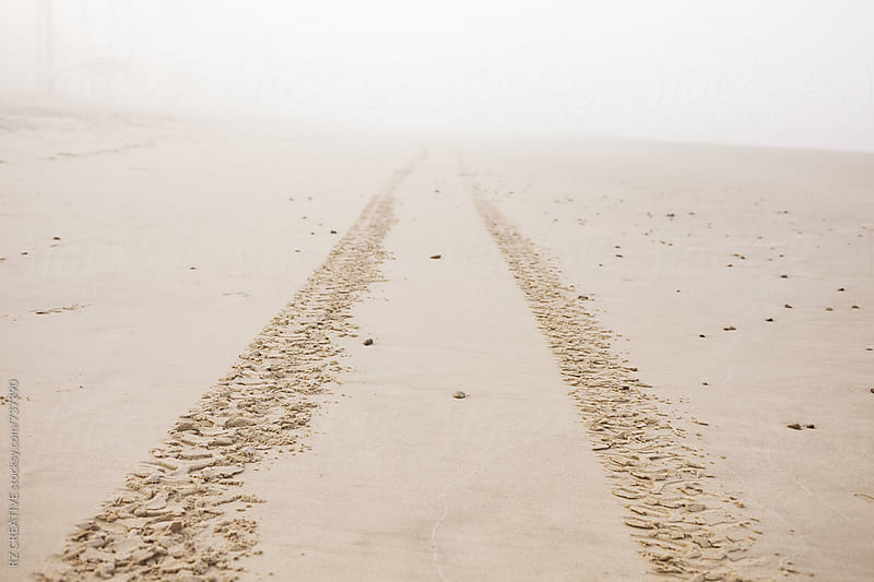 Tire tracks in the sand lead off in the foggy distance. by Robert Zaleski for Stocksy United